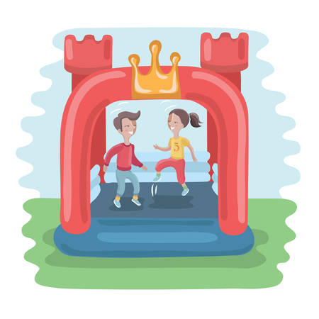 Vector illustration of kids jumping in colorful small air bouncer inflatable trampoline castle on the meadow Illustration