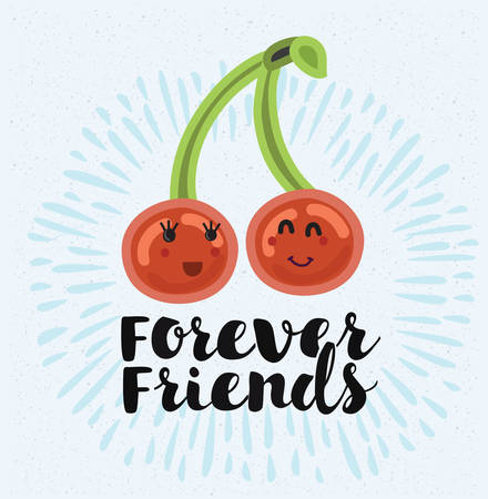 Vector illustration of two cherries love each other. Best friends forever. Hand lettering quote Illustration