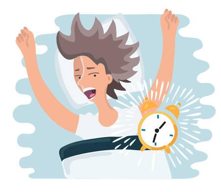 lay: Vector cartoon illustration of slept through woman woke up, the alarm clock is ringing, woman screaming Illustration