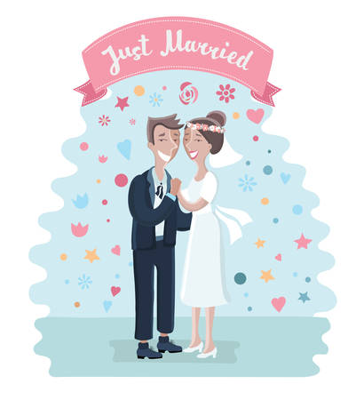 Vector illustration of cartoon cute cart with bride and groom. whos loves each other. Just maried couple have gently hug