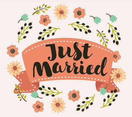 Just Married heart shaped typographyhand drawn lettering text heart card decorated by flowers in vintage style for card and print Illustration