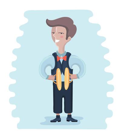 Vector cartoon illustration of little musician: boy playing cymbals Illustration