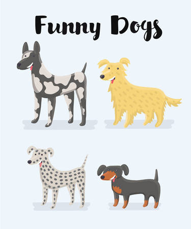 Vector cartoon illustration of different kind of dogs illustration. Set of cute and funny dogs any types and four size. Great Dane, Dalmatian, Labrador retriever gold, dachshund