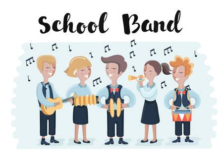 Gruppe von Studenten, die im Schulorchester zusammen spielen. Gruppe von Kindern spielen Musikinstrumente. Trompete, Trommeln, Akkordeon, Becken, Messing Standard-Bild - 82031871