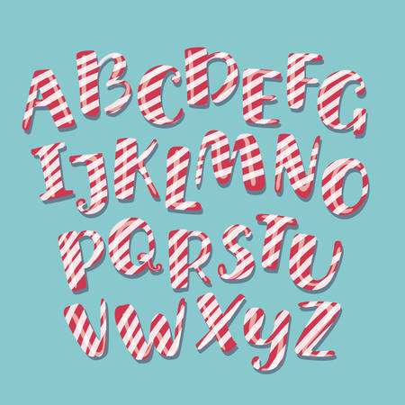 Vector cartoon funny Christmas striped candy alphabet letters. White and red stirpes on blue background