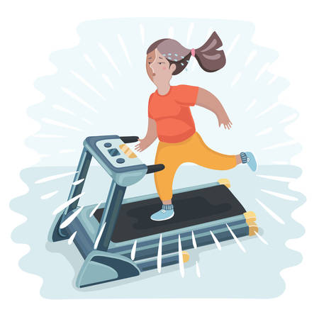 unfit: Vector cartoon funny illustratuion of plump young woman running on treadmill. Girl working out in sweat to get rid of fat belly