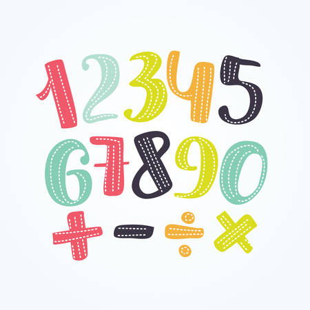 Vector illustration of colorful numbers set signs of addition, subtraction, division, multiplication. Illustration