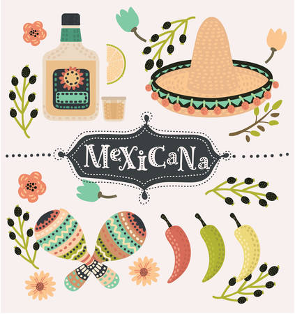 latinoamerica: Vector cartoon mexican set of illustration of chilli papers, tequilla slice of lemon, sambrero, maracases and caballito decorated with flower. Hand drawn lettering mexicana. Mexican party vector decoration