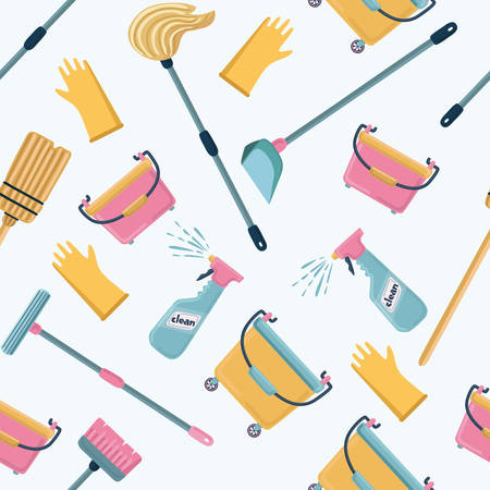 Vector cartoon funny pattern of cleaning tools. Cleaning service color illustrations