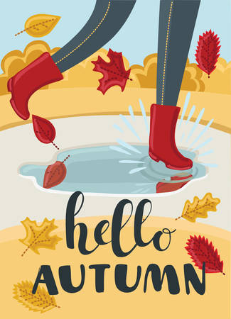 Vector cartoon illustration of girls or kids legs in rubber boots playing in the puddle. Falling leaves arround. Children jumping and splashing through the puddles in park in the Fall. Hello Autumn concept.