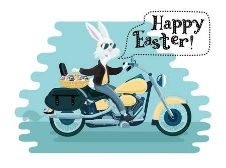 Vector funny cartoon illustration of happy white easter rabbit in sunglasses ride on a motorcycle and holding a painted egg basket
