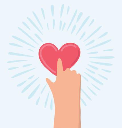 hand touch: Vector funny cartoon push button heart button illustration Illustration