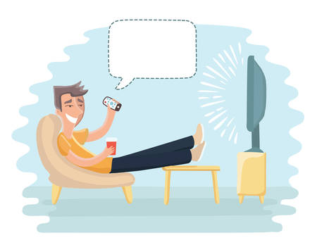 Vector cartoon funny illustration of man sitting on the couch and watching TV and talkig bubble speach above him Ilustração