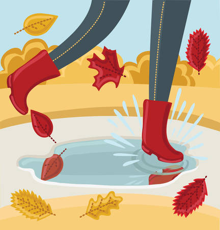 reflaction: Vector illustration of legs in a pair of rubber boots. Autumn shoes. Person walking in park in the Fall