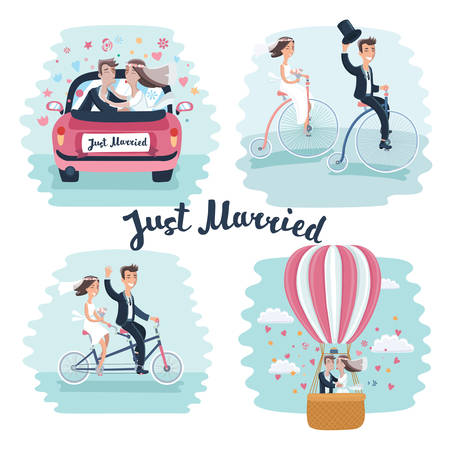 Vector funny cartoon illustration of Happy Newlyweds Scenes. Wedding couple ride retro bicycle, tandem bike , kisses in marriege car and in hot air ballon.