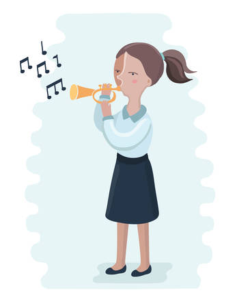 Vector cartoon illusration of trumpet performance by the high school girl. Play on brass Illustration