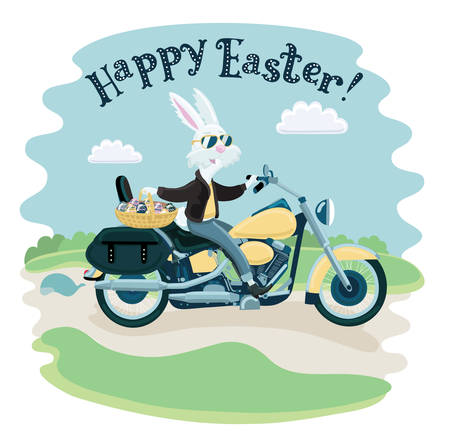 Vector funny cartoon illustration of happy white easter rabbit in sunglasses ride on a motorcycle and holding a painted egg basket in spririg landscape
