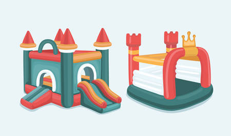 Vector cartoon illustratie set van opblaasbare kastelen en kinderen heuvels. Geïsoleerd op een witte achtergrond