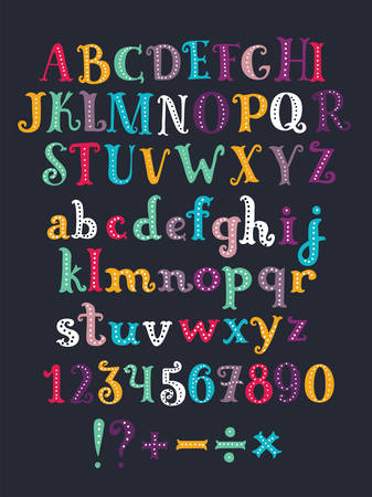 Vector color cartoon serif alphabet. Hand drawn letters isolated on dark background. Colorful vector illustration. Design elements for scrapbooking. Numbers and minus, plus, division, multiplication,