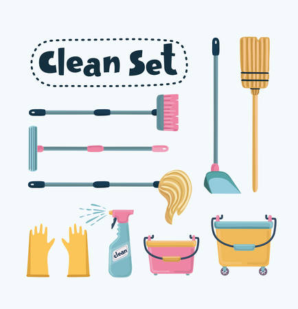 Vector cartoon funny illustration of Cleaning Set. Mop, shovel, broom, bucket floor, pulvizator, rrezinovye gloves, brush long-handled. Isolated object