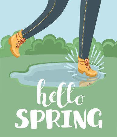 Vector cartoon illustration of legs in anckle boots with Hello Spring lettering. Walking, jumping and splashing in the puddle i the park