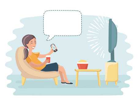 Vector funny cartoon illustration of happy woman, watch tv and talking bublle speech above Illustration