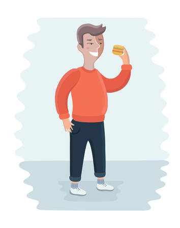 Vector cartoon illustration of close up of fat happy man eating burger