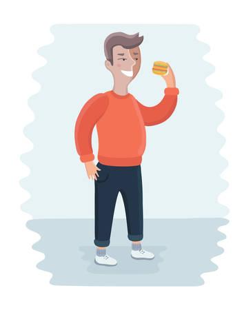 bulimia: Vector cartoon illustration of close up of fat happy man eating burger