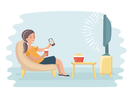 Vector cartoon funny illustration of woman watching television armchair and sitting in chair, drinking