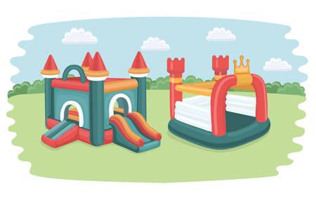 Vector cartoonfunny illustratie met twee grote opblaasbare glijbanen: kastelen, trampoline voor kinderen op speelplaats in het park Stock Illustratie