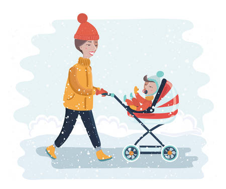 Vector cartoon funny illustration of woman with stroller going for a walk in a during lovely winter.young mother pushing baby trolley. Baby inside