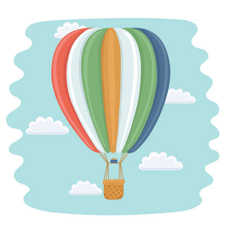 cloud drift: Vector funny cartoon illustration of hot air balloon and clouds