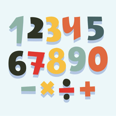 Vector funny cartoon colorful set of numbers with shadows. Division signs, multiplication, subtraction, addition.