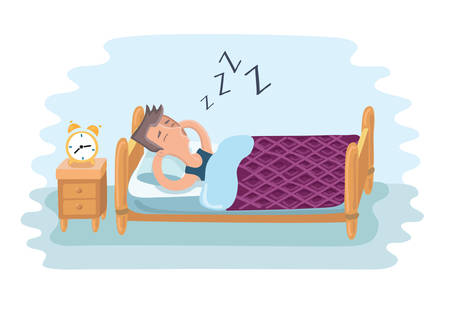 Vector cartoon illustration of tired man sleeping