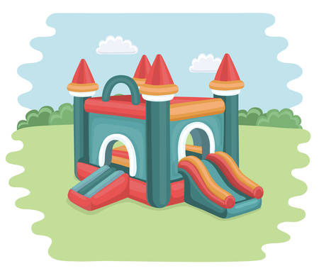 Vectorbeeldverhaalillustratie van springkasteel op speelplaats. opblaasbare spellen voor kinderen in het park