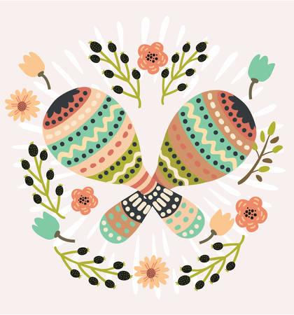 ヴィンテージ色の花で飾られたメキシコ国立楽器装飾マラカスのベクトル漫画かわいいイラスト。マラカス、キューバ、メキシコ、カーニバル - ベ