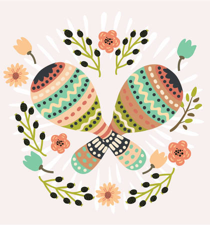 Vector cartoon cute illustration of Mexican national musical instrument decorative maracas decorated with flower in vintage color. Maraca, Cuba, Mexico, Carnival - Vector