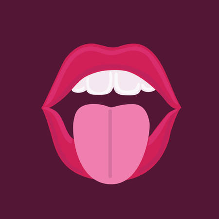 Vector funny illustration of open mouth sticking out tongue on dark background Illustration