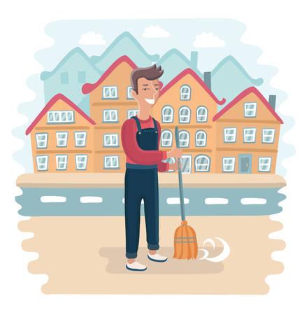 Illustrazione divertente di vettore di spazzino sul lavoro, spazzino, lavoratore del settore pubblico. Paesaggio della città