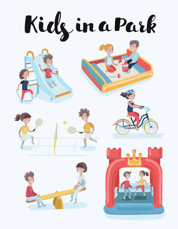 Vector cartoon cute funny illustration of kids at playground clip art set