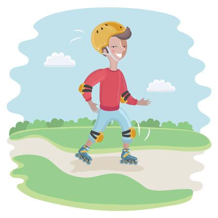 Vector cartoon funny illustration of Roller Skating Boy moving fast Illustration