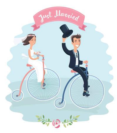Cartoon vector grappige illustratie van bruiloft paar op driewielers vintage fiets rijden in het park. Net getrouwd. Element voor kaart