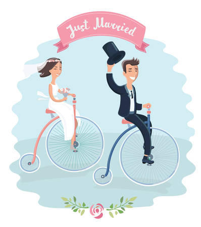 Cartoon vector funny illustration of wedding couple on tricycles vintage bike riding in park. Just married. Element for card
