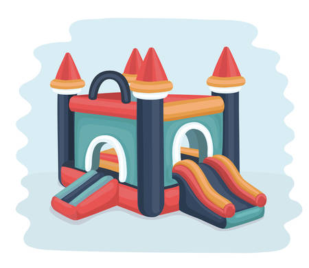 Vector cartoon illustration of in flatable castle trampoline in bright color.
