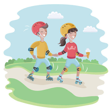 elbow pads: Vector cartoon funny cute illustration of boy and girl, wearing a helmet, knee pads, elbow pads is roller-skate Illustration