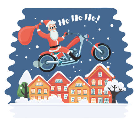 vecor: Vecor cartoon comic funny illustration of Super Santa Claus coming from sky with christmas presents riding on motorcycle. Flying above towns houses in the night. Snowy landscape Illustration