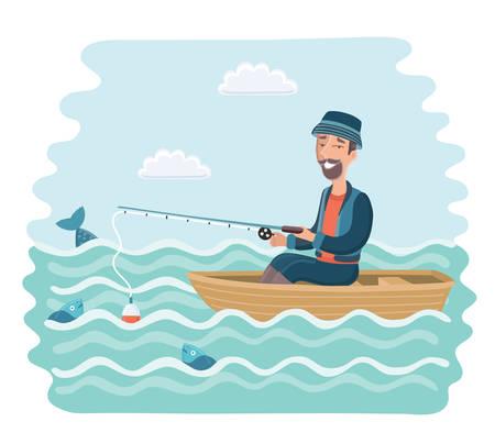Vector cartoon illustration of smiling man fishing on the boat.