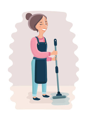 Vector cartoon illustration of woman holding a MOP cleaning the floor Illustration