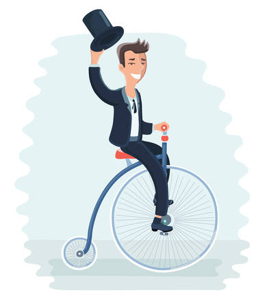 Vector cartoon funny illustration of Man on retro vintage old bicycle vector illustration. Gentleman holds the cylinder in his hand and riding on a tricycle bike