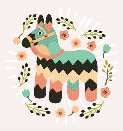 Vector cartoon bright striped colorful pinata isolated decorated with flower in vintage style